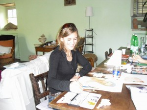 Petra begins her portrait