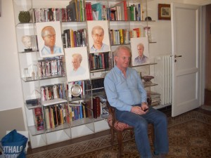 David with his portraits