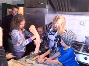 Raylene and kids making ravioli