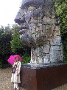 Katie in Boboli gardens - our first rain