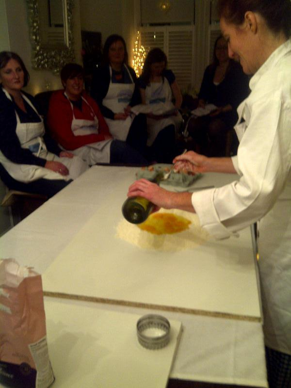 Lisa shows us how to  add wine to her pasta to make it more stretchy - essential for ravioli