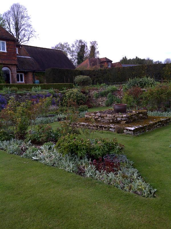 raised beds in formal gardens of Upton Grey
