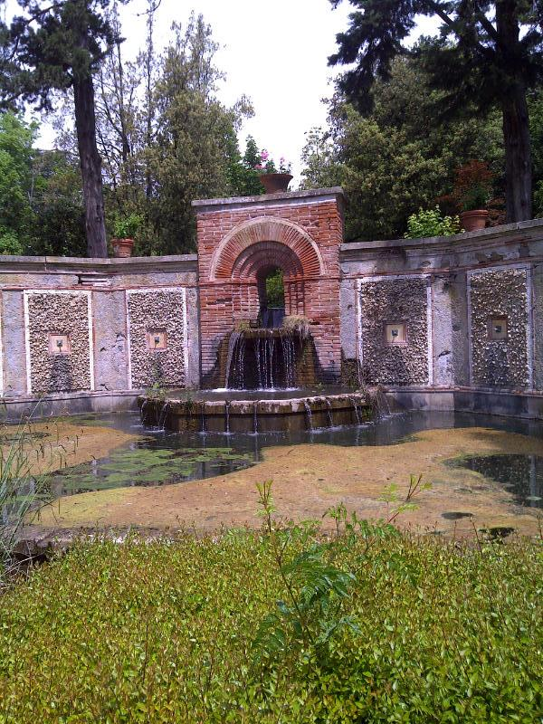 the fountain at the end of the Spanish garden