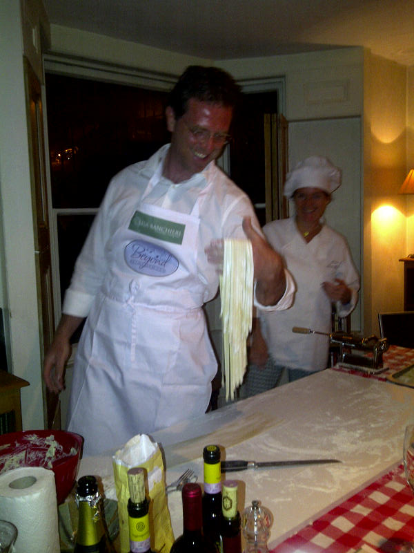 Alessandro shows off his tagliatelle - which we made just for fun - so everyone took some fresh pasta home for lunch the next day!